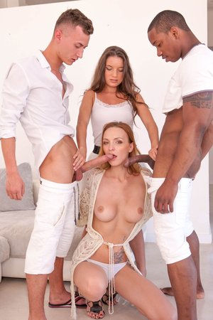 Belle Claire and Anita Bellini, interracial fuck-fest with Double penetration